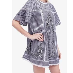 Free People Lace Embroidered Dress Plaid Small
